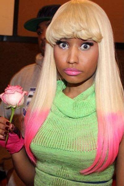 pink highlights    long blonde hair  bangs