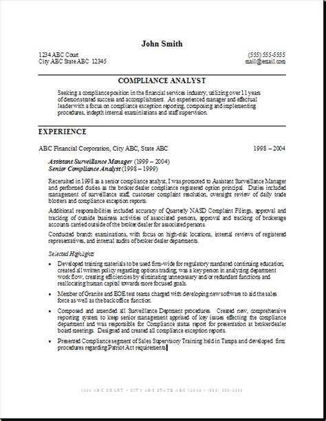 Compliance Analyst Resume Objective by Compliance Analyst Resume Sle Gallery Creawizard