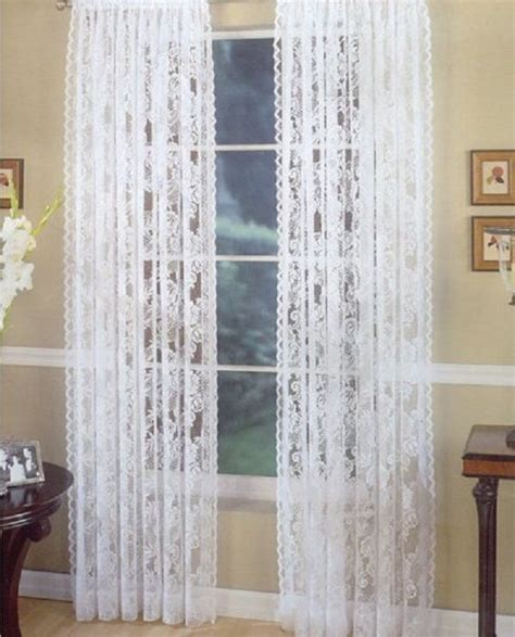 lace curtains pair white vintage style floral 2 panels