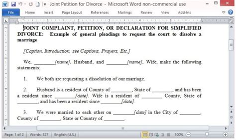 printable divorce template form generic
