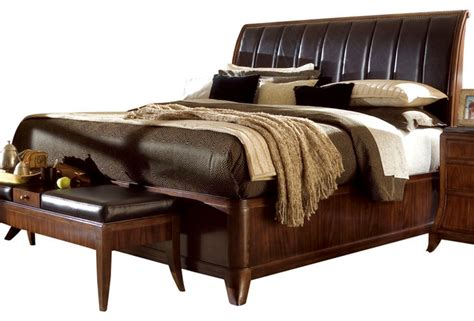 american drew bob mackie signature sleigh bed in rosewood
