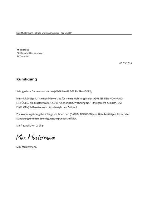 muster kündigung wohnung wohnung mietvertrag k 252 ndigen