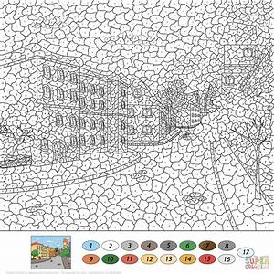 Old Town Street Color By Number Free Printable Coloring