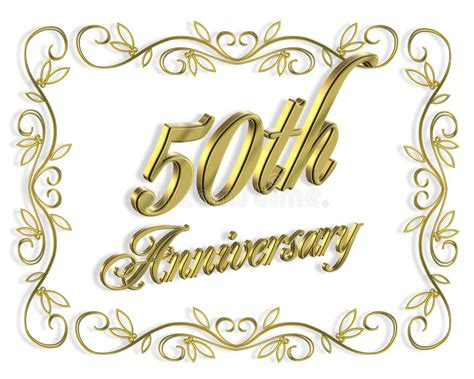 50th Anniversary Invitation 3D Illustration Stock