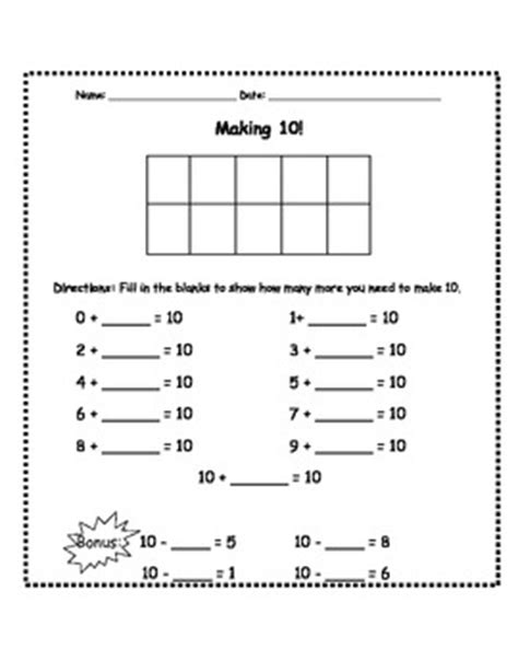 making 10 assessment worksheet by the dhh teacher tpt