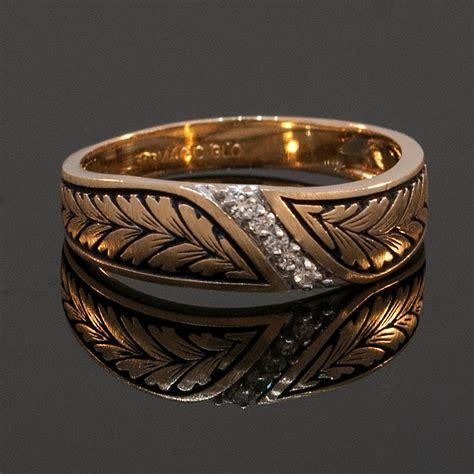 mens vintage wedding rings vintage mens 14k yellow gold and diamond wedding band
