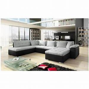 Canapé En U Tissu : canap angle u alta 3 gris noir angle droit achat vente canap sofa divan cdiscount ~ Melissatoandfro.com Idées de Décoration
