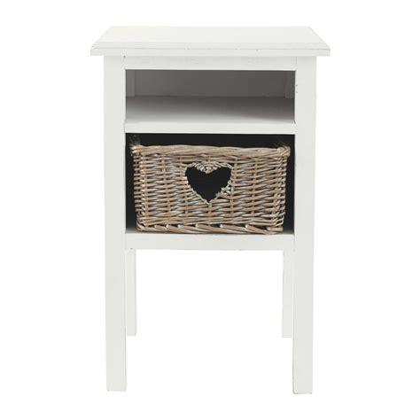 chambre ado petit espace table de chevet cœur en bois blanche l 35 cm gabrielle