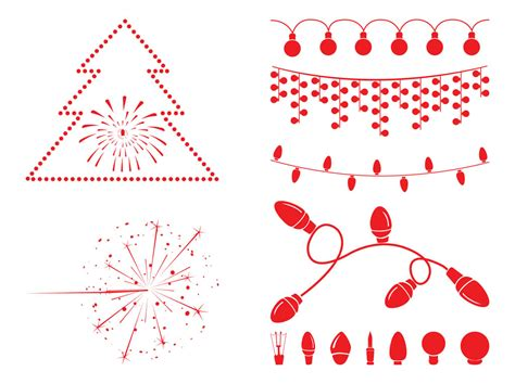 christmas lights and decorations vector art graphics