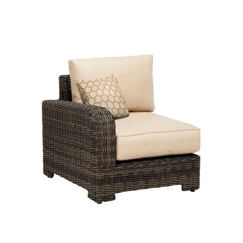 brown northshore left arm patio sectional chair