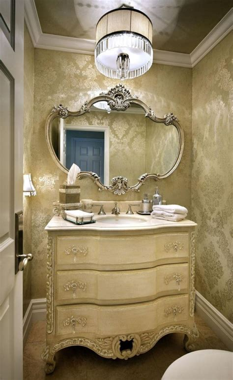 lovely powder room vanities high end with decorative carved mirror mounted on gold