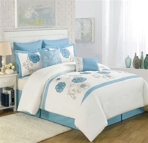 8 piece queen maisie floral embroidered comforter set