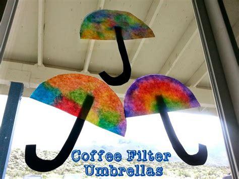 coffee filter umbrellas   spring crafts for kids   Pinterest