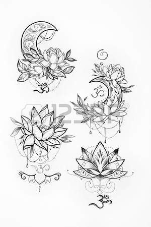 lotus flower tattoo designs: Sketch of a lotus and moon on a white background. Stock Photo