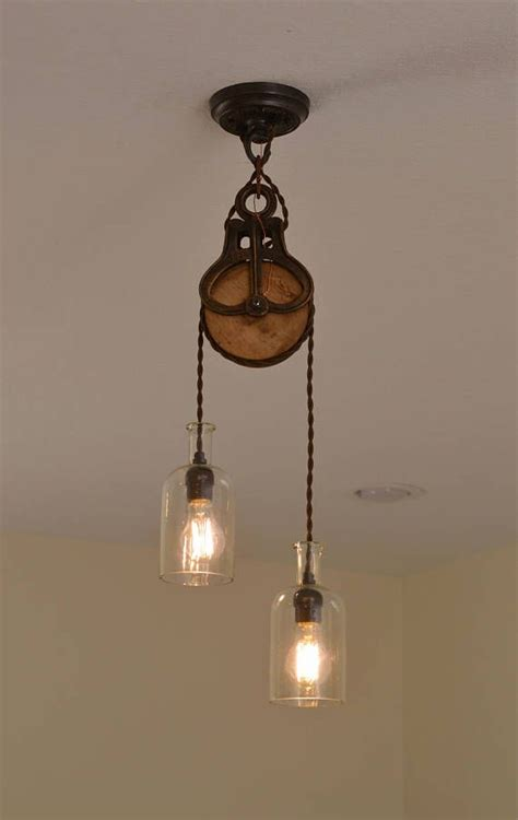 pulley pendant lights kitchen handcrafted pulley pendant fixture pendant lighting rustic 4443