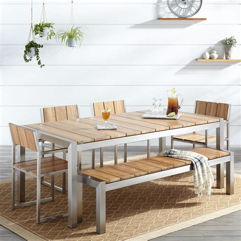 high back dining chairs macon 6 rectangular teak outdoor dining table set