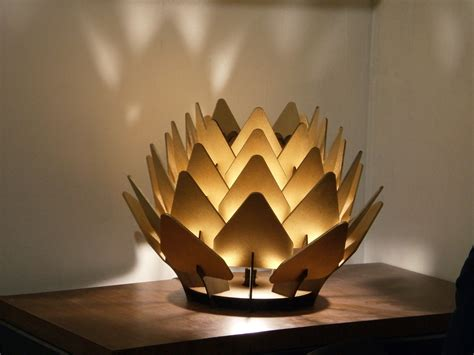 Sculpture Lamp by Cynara Table Lamp Geometric Wood Sculpture Accent By