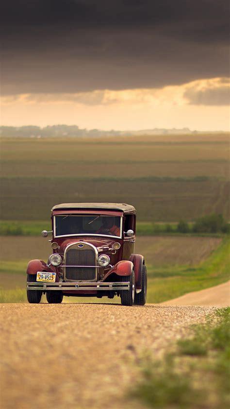 vehicle vintage field clouds nebraska united states iphone