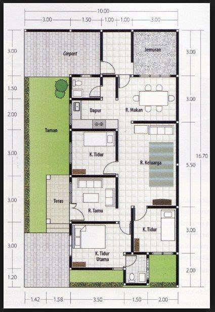 denah rumah kamar ukuran terbaik terbaru desain rumah