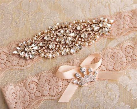 wedding garter set rose gold bridal garter set blush