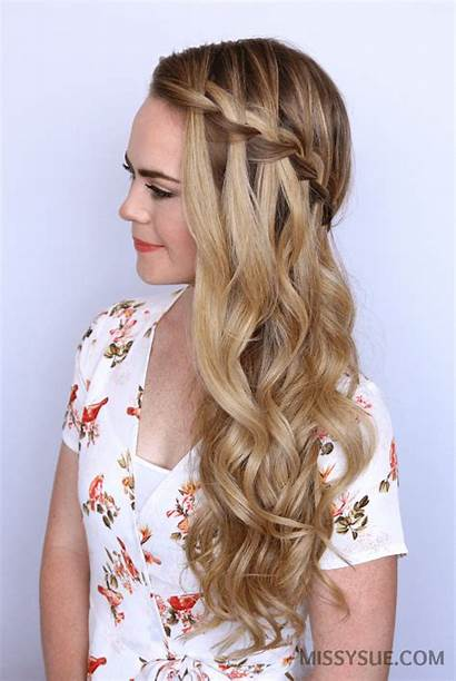 Waterfall Braid Hairstyles Sideswept Party Easy Braided