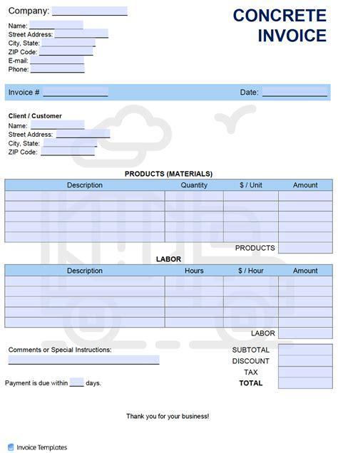 concrete invoice template  word excel