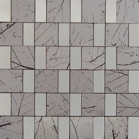 Peel and Stick Mosaic Tile Gray Rectangle Aluminum Adhsive