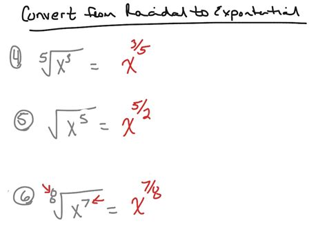 write expression in exponential form convert from radical form to exponential form math
