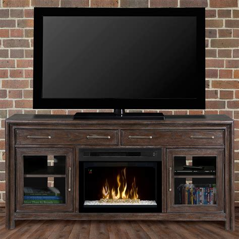 woolbrook distressed nutmeg electric fireplace glass