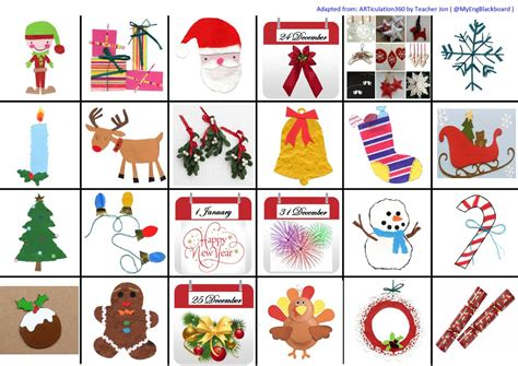 My English Blackboard Christmas Vocabulary  Memory Game