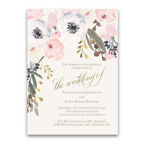 bridal shower invite blush gold watercolor floral boho chic wedding invitations