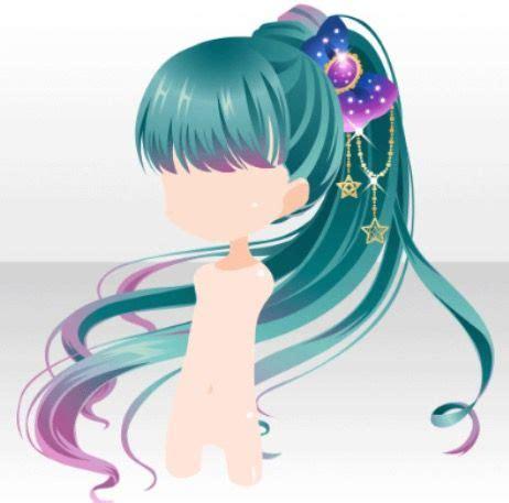 anime hair dark blue green aqua teal  purple ponytail