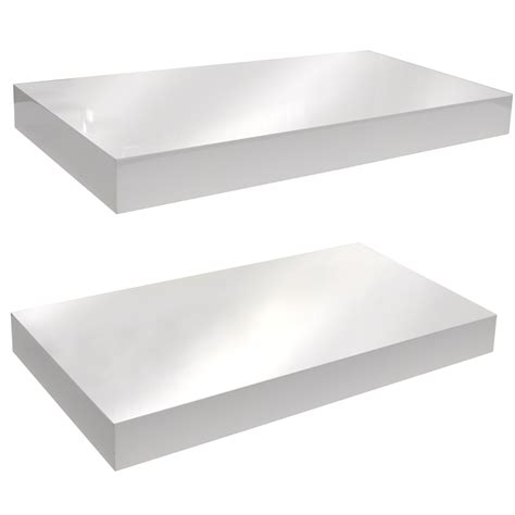 white two shelf gloss wall mounted 40cm floating shelf pack of two