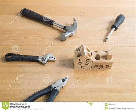 set  tools  handmade wood house toy stock image