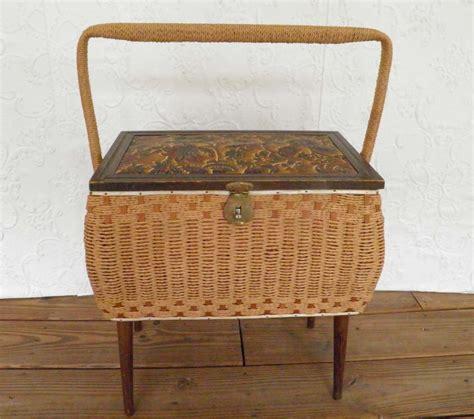 vintage wicker sewing basket  legs