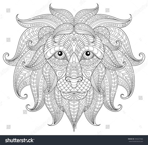 Lion Head Adult Antistress Coloring Page Stock Vector