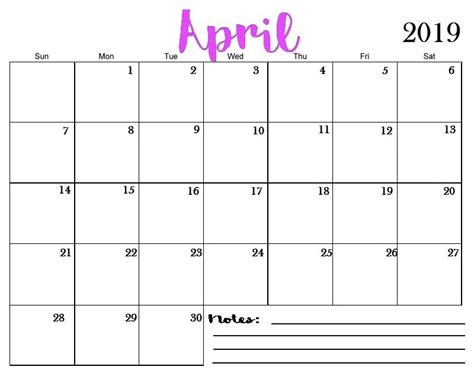 april  printable calendar templates  blank