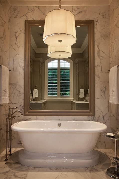 Chandelier Over Bathtub   Transitional   bathroom