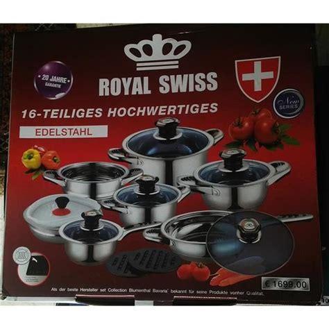 batterie de cuisine swiss line batterie de cuisine inox 16 pcs royal swiss achat