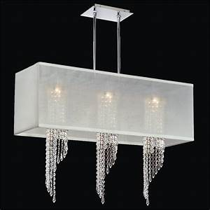 Rectangular shade chandelier spiral crystal