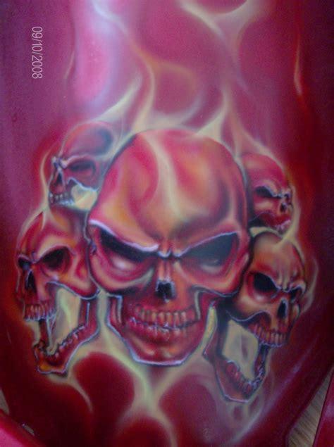 da triggamans passion skulls  flames  red coat bike