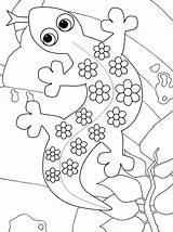 Gecko Coloring Cute Cartoon Pages sketch template