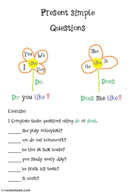 present simple basic questions do does interactive worksheet