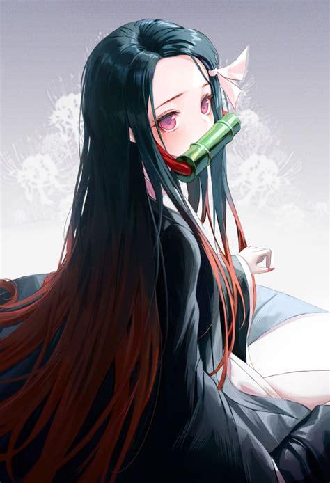 wallpaper kamado nezuko cute long hair black dress