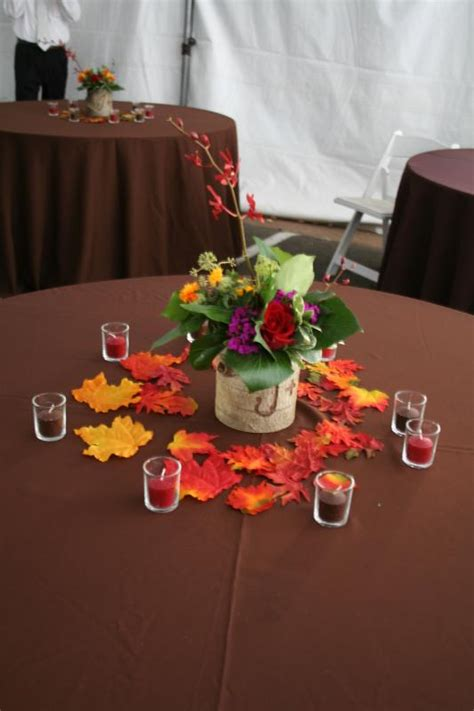 fall aspen log centerpiece weddingbee photo gallery