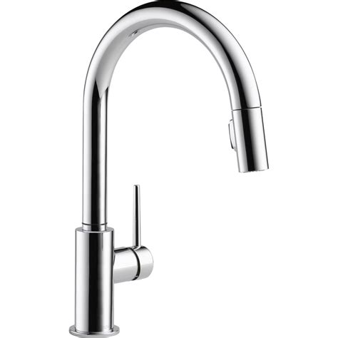 chrome kitchen faucet shop delta trinsic chrome 1 handle deck mount pull down kitchen faucet at lowes com