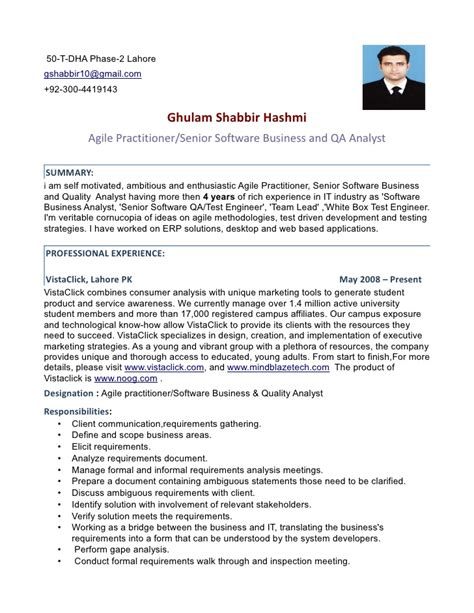 Test Analyst Resume Sles by Agile Practitioner Senior Software Ba And Qa Analyst