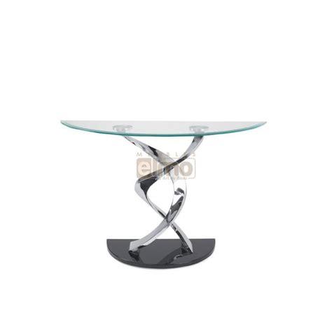 ensemble de canapé console design de créateur demi lune verre et acier pied