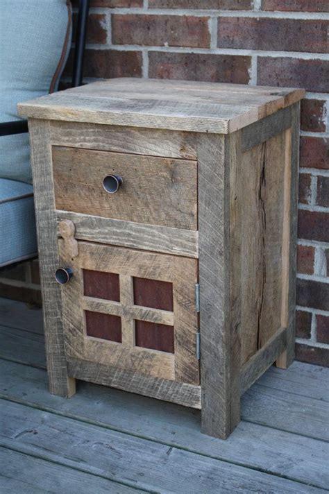 custom rustic barn wood  table night stand