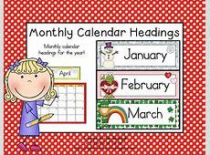 Monthly Calendar Headings Monthly calendars and Calendar